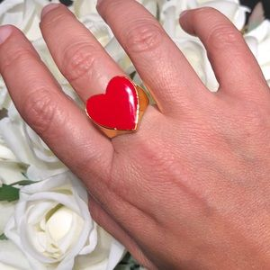 Adorable enamel 18K gold plated heart ring
